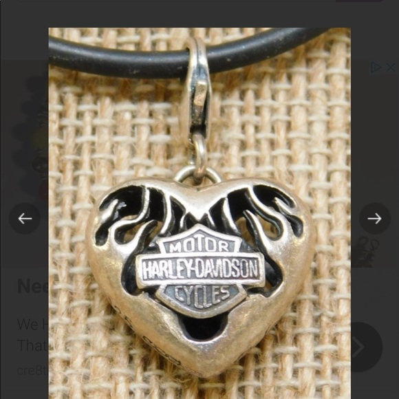 Harley-Davidson Jewelry - Harley Davidson 925 Sterling Heart Charm Necklace